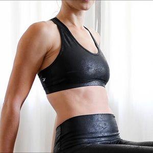 Glyder Black Shiny Sports Bra, Size S ✨